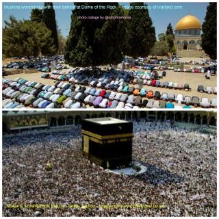 De ce se închină musulmanii cu spatele la Domul Stâncii? - foto colaj de @nicklnromania
