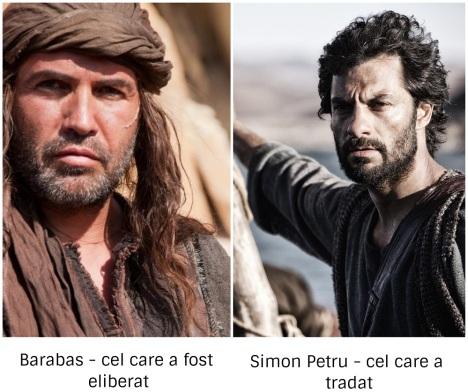 Barabas - cel care a fost eliberat, și Simon Petru - cel care a trădat - imagini preluate de pe google images, colaj făcut de mine