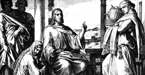 Un desen care-l descriu pe Isus în vizită la Maria (care îi stătea la picioare) și Marta (care se îngrijora) - preluat de pe crosswalk.com